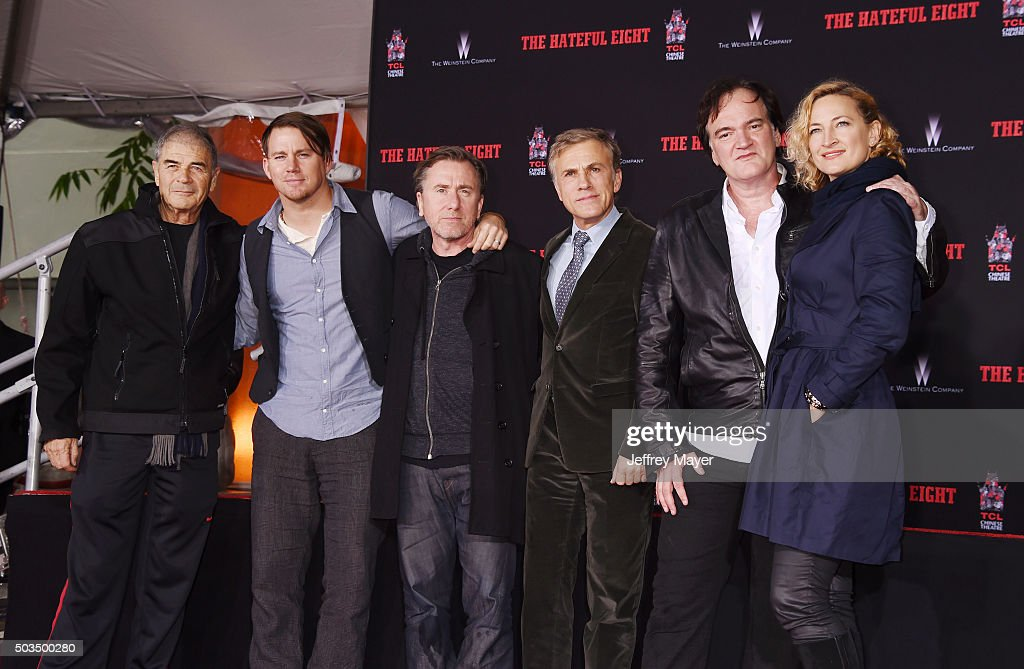 Actors Robert Forster, Channing Tatum, Tim Roth, Christoph Waltz, writer/director Quentin Tarantino and actress Zoe Bell attend the Quentin Tarantino Hand And Footprint Ceremony at the TCL Chinese Theater on January 5, 2016 in Hollywood, California.