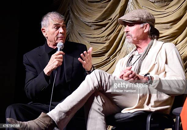 Actors Robert Foster and Jeff Fahey speak at the QA at the 2015 Los Angeles Film Festival 'Too Late' Premiere at LACMA on June 11 2015 in Los Angeles...