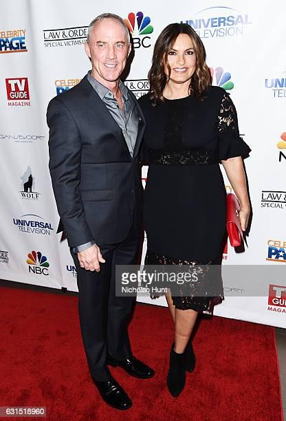 Actors Robert John Burke and Mariska Hargitay attend the TV Guide Celebrates Mariska Hargitay at Gansevoort Park Avenue on January 11 2017 in New...