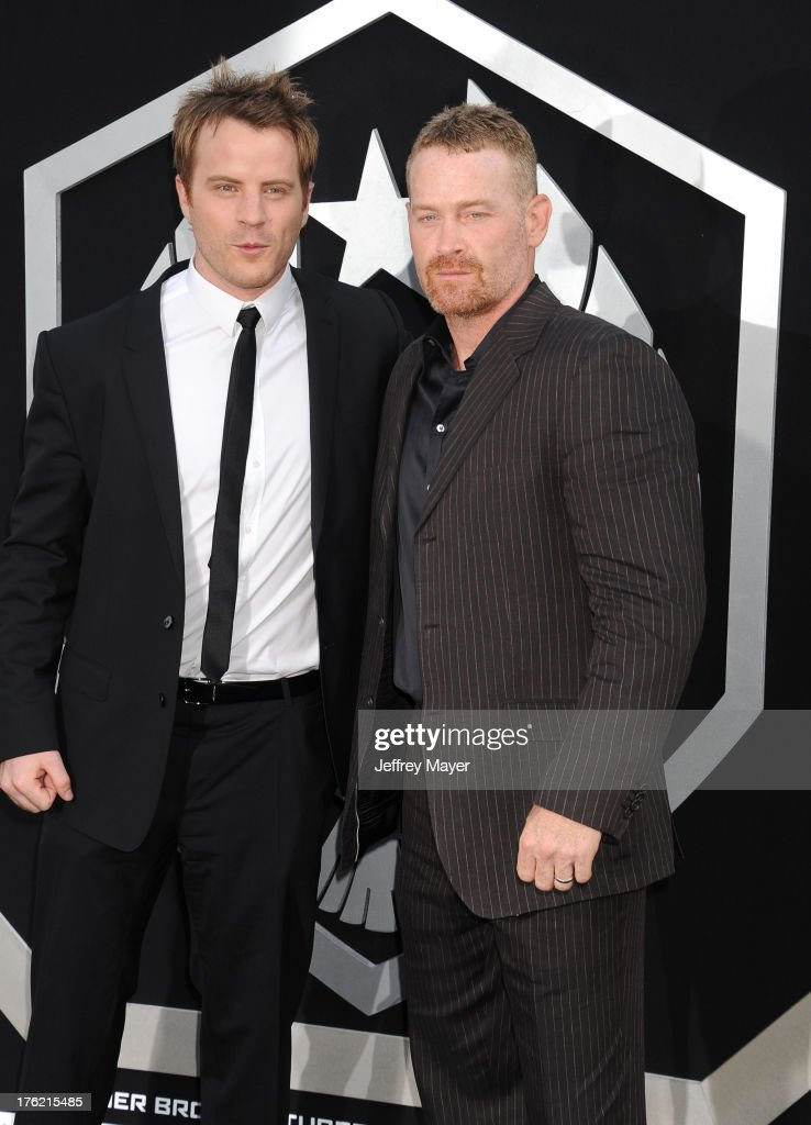 Actors Robert Kazinsky and Max Martini arrive at the 'Pacific Rim' Los Angeles Premiere at Dolby Theatre on July 9 2013 in Hollywood California