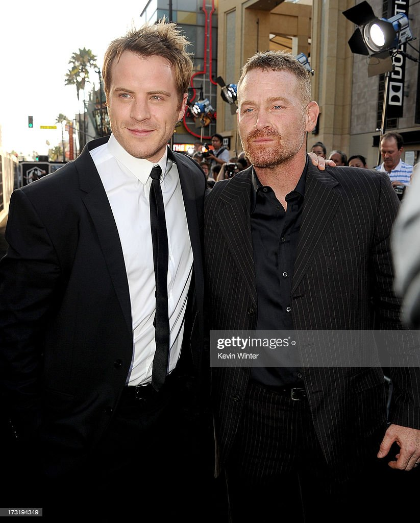 Actors Robert Kazinsky (L) and Max Martini arrive at the premiere of Warner Bros. Pictures' and Legendary Pictures' 'Pacific Rim' at Dolby Theatre on July 9, 2013 in Hollywood, California.