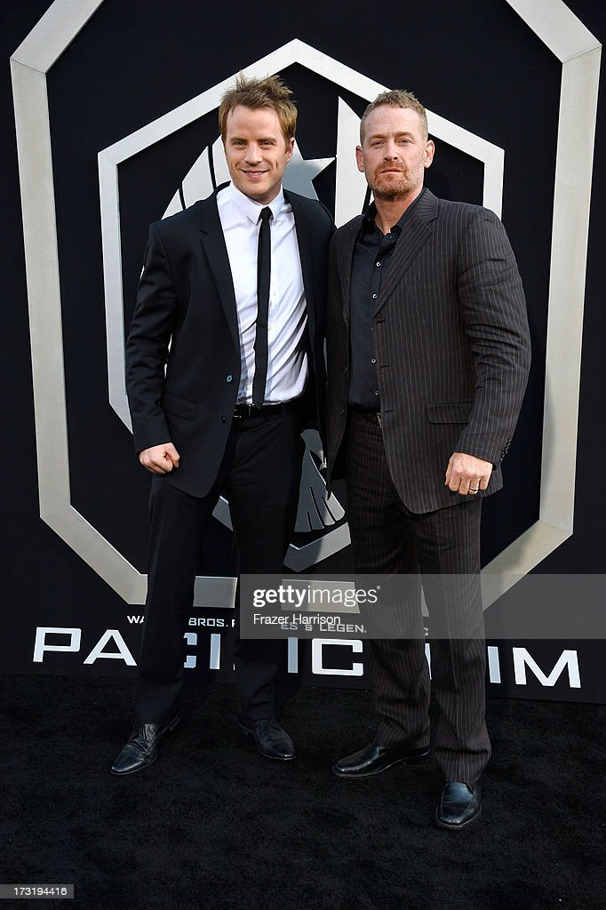 Actors Robert Kazinsky and Max Martini arrive at the premiere of Warner Bros Pictures' and Legendary Pictures' 'Pacific Rim' at Dolby Theatre on July...