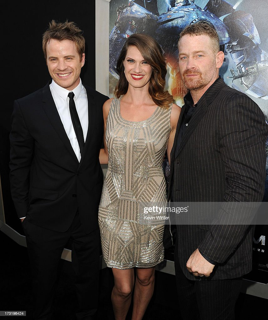 Actors Robert Kazinsky, Heather Doerksen and Max Martini arrive at the premiere of Warner Bros. Pictures' and Legendary Pictures' 'Pacific Rim' at Dolby Theatre on July 9, 2013 in Hollywood, California.