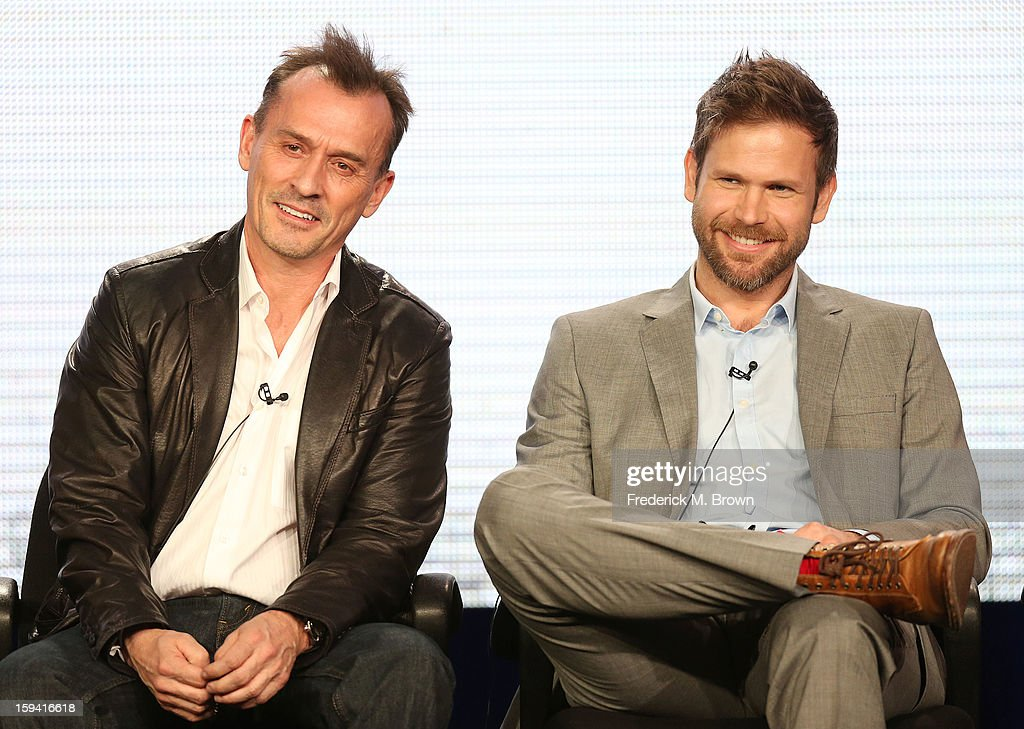 Actors <a gi-track='captionPersonalityLinkClicked' href=/galleries/search?phrase=Robert+Knepper&family=editorial&specificpeople=630261 ng-click='$event.stopPropagation()'>Robert Knepper</a> (L) and Matt Davis of the television show 'Cult' speak during the CW Network portion of the 2013 Winter Television Critics Association Press Tour at the Langham Huntington Hotel & Spa on January 13, 2013 in Pasadena, California.
