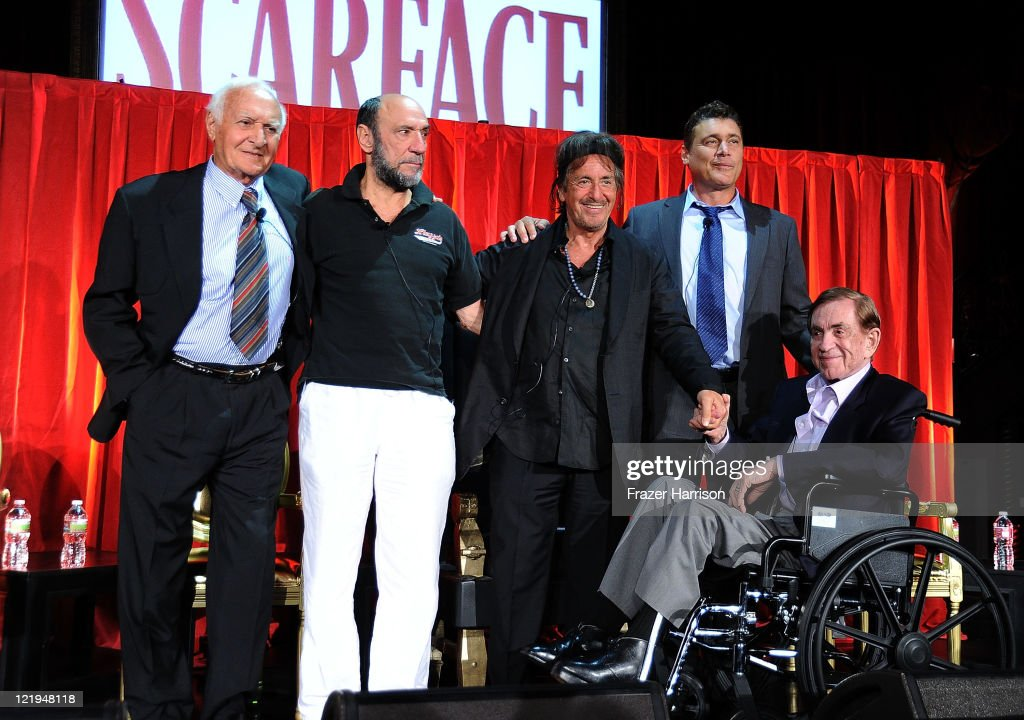Actors Robert Loggia F Murray Abraham Al Pacino Steven Bauer and producer Martin Bregman on stage at the release of 'Scarface' On Bluray at the...