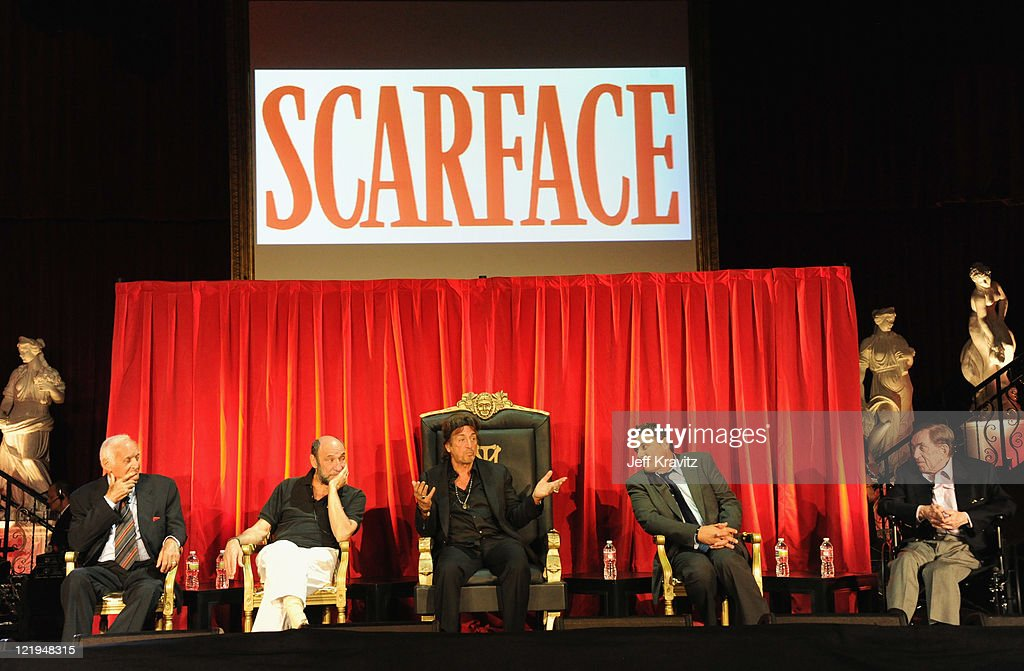 Actors Robert Loggia F Murray Abraham Al Pacino Steven Bauer and producer Martin Bregman attend a Q and A at a cast reunion celebrating the...