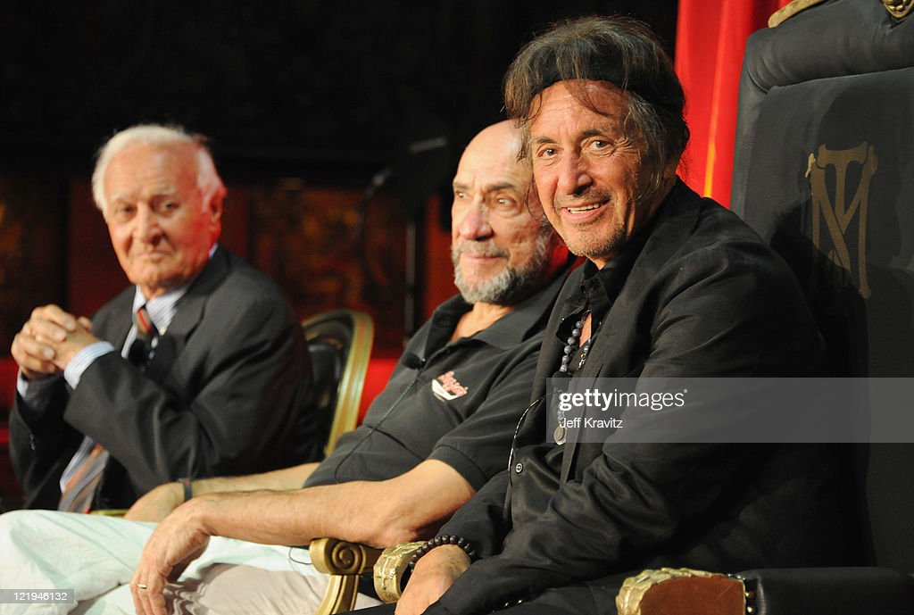 Actors Robert Loggia F Murray Abraham and Al Pacino attend a Q and A at a cast reunion celebrating the 'Scarface' Limited Edition BluRay Release with...