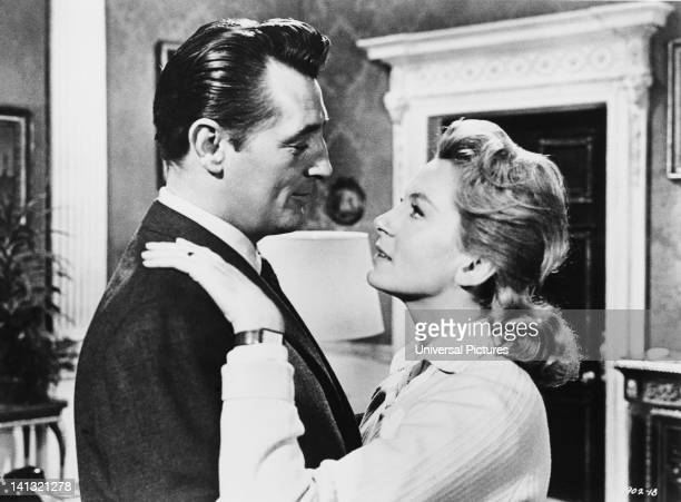 Actors Robert Mitchum and Deborah Kerr star in the film 'The Grass is Greener' which was filmed on location at Osterley Park mansion in west London...