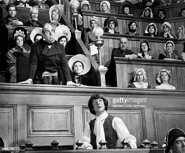 Actors Robert Morley and John Hurt on set the movie 'Sinful Davey' circa 1969