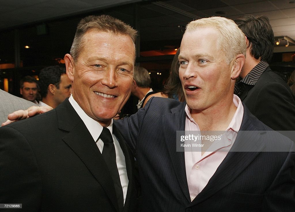 Actors Robert Patrick (L) and Neal McDonough pose at the afterparty for the premiere of Paramount's 'Flags Of Our Fathers' at the Academy of Motion Picture Arts and Sciences on October 9, 2006 in Beverly Hills, California.