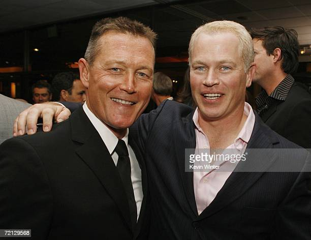 Actors Robert Patrick and Neal McDonough pose at the afterparty for the premiere of Paramount's 'Flags Of Our Fathers' at the Academy of Motion...