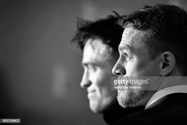Actors Robert Pattinson and Charlie Hunnam attend the 'The Lost City of Z' photo call during the 67th Berlinale International Film Festival Berlin at...