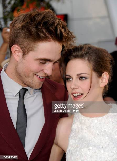 Actors Robert Pattinson and Kristen Stewart arrive at the premiere of Summit Entertainment's 'The Twilight Saga Eclipse' during the 2010 Los Angeles...