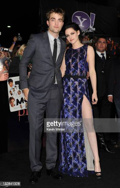 Actors Robert Pattinson and Kristen Stewart arrive at the premiere of Summit Entertainment's 'The Twilight Saga Breaking Dawn Part 1' at Nokia...