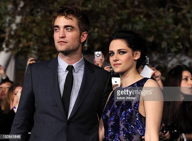 Actors Robert Pattinson and Kristen Stewart arrive at the premiere of Summit Entertainment's 'The Twilight Saga Breaking Dawn Part 1' at Nokia...
