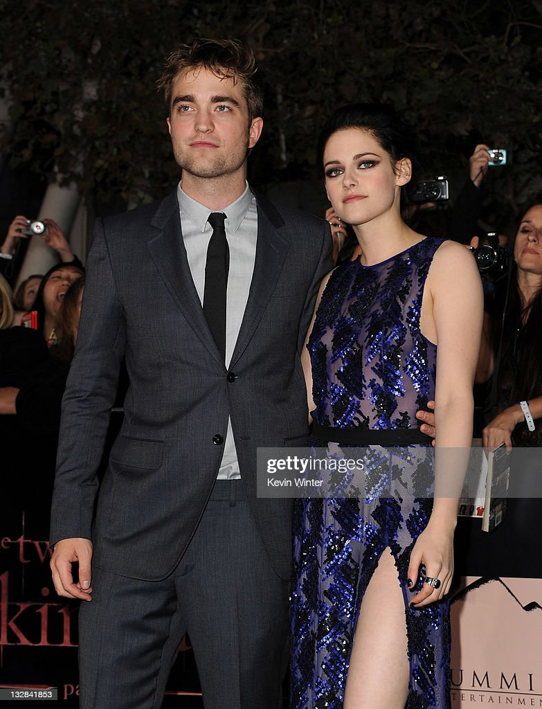 Actors Robert Pattinson (L) and Kristen Stewart arrive at the premiere of Summit Entertainment's 'The Twilight Saga: Breaking Dawn - Part 1' at Nokia Theatre L.A. Live on November 14, 2011 in Los Angeles, California.