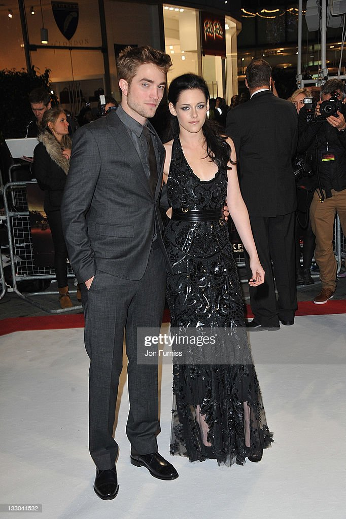 Actors (L-R) <a gi-track='captionPersonalityLinkClicked' href=/galleries/search?phrase=Robert+Pattinson&family=editorial&specificpeople=734445 ng-click='$event.stopPropagation()'>Robert Pattinson</a> and <a gi-track='captionPersonalityLinkClicked' href=/galleries/search?phrase=Kristen+Stewart&family=editorial&specificpeople=2166264 ng-click='$event.stopPropagation()'>Kristen Stewart</a> attend 'The Twilight Saga: Breaking Dawn Part 1' UK Premiere, at Westfield Stratford City on November 16, 2011 in London, England.