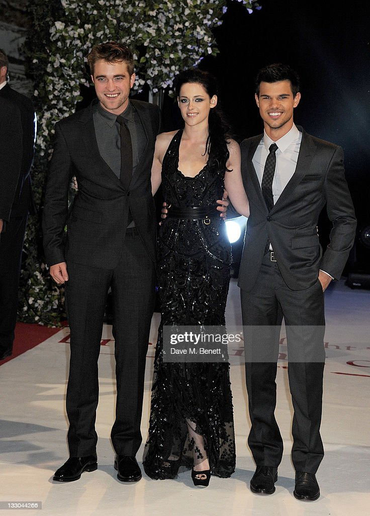 Actors Robert Pattinson, Kristen Stewart and Taylor Lautner attend the UK Premiere of 'The Twilight Saga: Breaking Dawn Part 1' at Westfield Stratford City on November 16, 2011 in London, England.