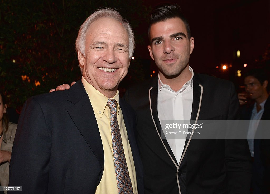 Actors Robert Pine and <a gi-track='captionPersonalityLinkClicked' href=/galleries/search?phrase=Zachary+Quinto&family=editorial&specificpeople=715956 ng-click='$event.stopPropagation()'>Zachary Quinto</a> attend the after party for the premiere of Paramount Pictures' 'Star Trek Into Darkness' at AV Nightclub on May 14, 2013 in Hollywood, California.