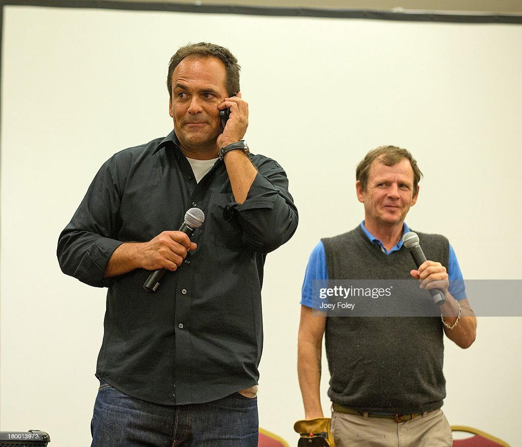 Actors Robert Rusler and Mark Patton onstage during a Nightmare on Elm Street II Q&A panel at Marriott Indianapolis on September 7, 2013 in Indianapolis, Indiana.