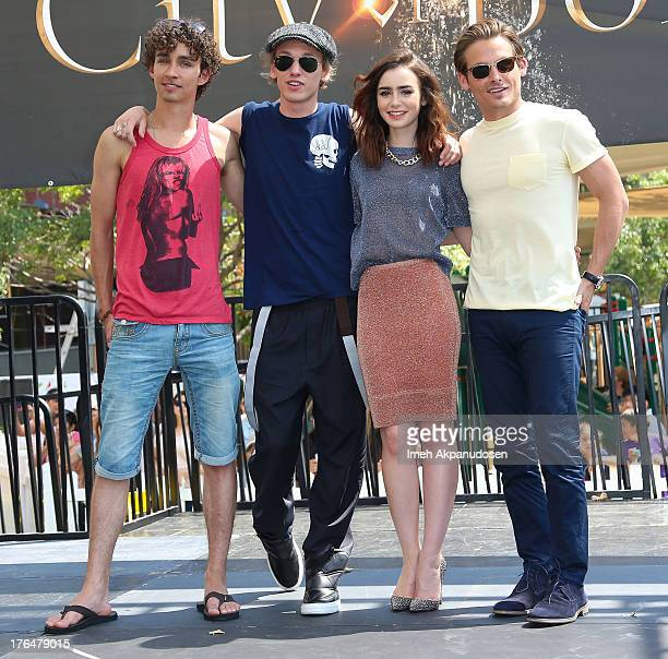 Actors Robert Sheehan Jamie Campbell Bower Lily Collins and Kevin Zegers attend Screen Gems Constantin Films' 'The Mortal Instruments City Of Bones'...