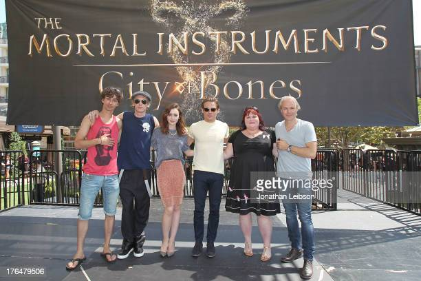 Actors Robert Sheehan Jamie Campbell Bower Lily Collins and Kevin Zegers novelist Cassandra Clare and director Harald Zwart attend 'The Mortal...