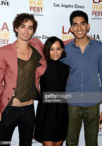 Actors Robert Sheehan Zoe Kravitz and Dev Patel attend the premiere of 'The Road Within' during the 2014 Los Angeles Film Festival at Regal Cinemas...