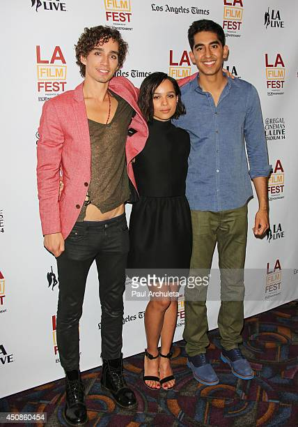 Actors Robert Sheehan Zoe Kravitz and Dev Patel attend the premiere of 'The Road Within' at the 2014 Los Angeles Film Festival at Regal Cinemas LA...
