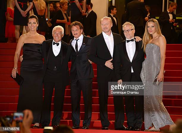 Actors Roberta Armani Giorgio Armani Sean Penn Paul Haggis General Delegate of the Cannes Film Festival Thierry Fremaux and actress Petra Nemcova of...