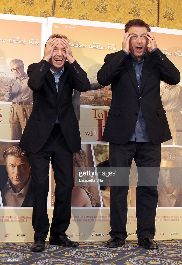 Actors <a gi-track='captionPersonalityLinkClicked' href=/galleries/search?phrase=Roberto+Benigni&family=editorial&specificpeople=217583 ng-click='$event.stopPropagation()'>Roberto Benigni</a> and <a gi-track='captionPersonalityLinkClicked' href=/galleries/search?phrase=Alec+Baldwin&family=editorial&specificpeople=202864 ng-click='$event.stopPropagation()'>Alec Baldwin</a> attend 'To Rome With Love' photocall at Hotel Parco dei Principi on April 13, 2012 in Rome, Italy.