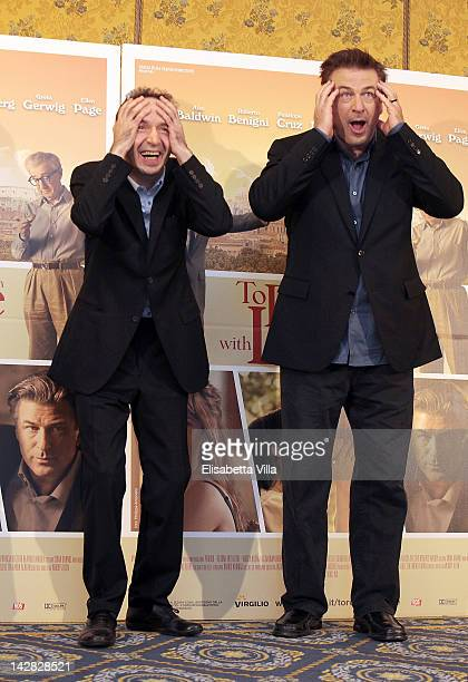 Actors Roberto Benigni and Alec Baldwin attend 'To Rome With Love' photocall at Hotel Parco dei Principi on April 13 2012 in Rome Italy