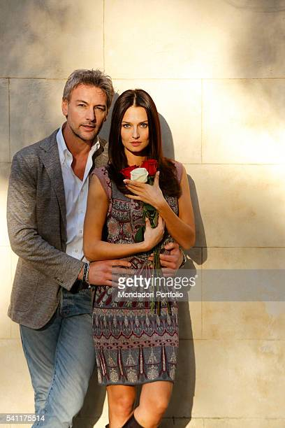 Actors Roberto Farnesi and Anna Safroncik starring in the third season of Le tre rose di Eva in Villa Borghese Rome Italy 3rd March 2015