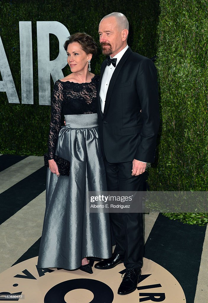 Actors Robin Dearden and Bryan Cranston arrive at the 2013 Vanity Fair Oscar Party hosted by Graydon Carter at Sunset Tower on February 24, 2013 in West Hollywood, California.