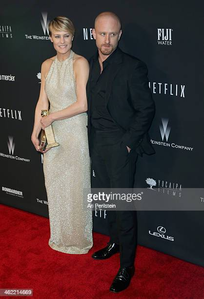 Actors Robin Wright and Ben Foster arrive attends The Weinstein Company Netflix's 2014 Golden Globes After Party presented by Bombardier FIJI Water...