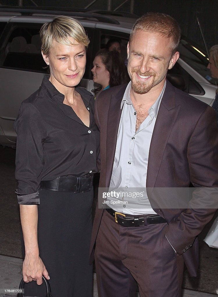 Actors Robin Wright and Ben Foster attend the Downtown Calvin Klein with The Cinema Society screening of IFC Films' 'Ain't Them Bodies Saints' at...
