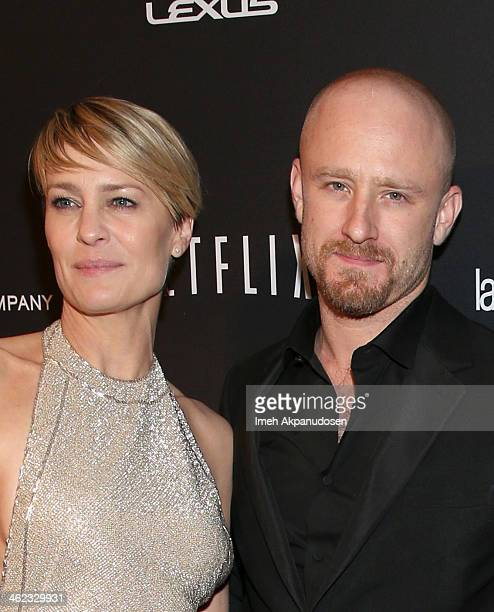 Actors Robin Wright and Ben Foster attend The Weinstein Company Netflix's 2014 Golden Globes After Party presented by Bombardier FIJI Water Lexus...
