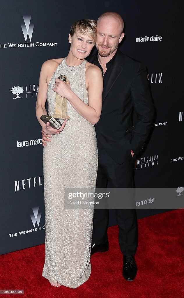 Actors <a gi-track='captionPersonalityLinkClicked' href=/galleries/search?phrase=Robin+Wright&family=editorial&specificpeople=207147 ng-click='$event.stopPropagation()'>Robin Wright</a> (L) and Ben Foster attend The Weinstein Company's 2014 Golden Globe Awards After Party at The Beverly Hilton hotel on January 12, 2014 in Beverly Hills, California.