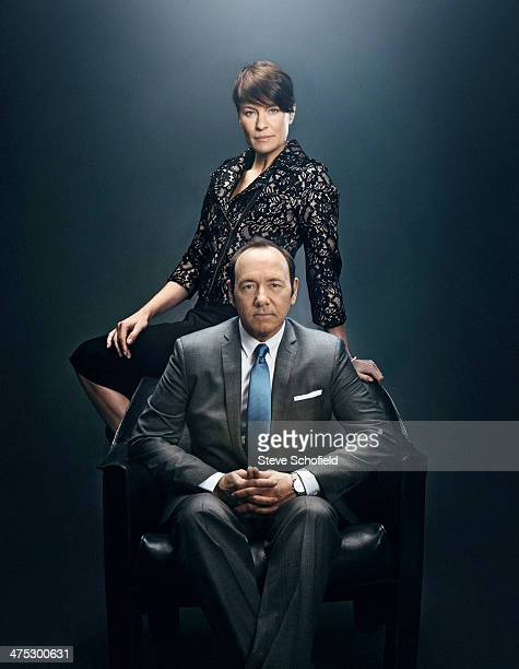 Actors Robin Wright and Kevin Spacey are photographed for Emmy magazine on December 5 2012 in Los Angeles California