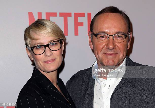 Actors Robin Wright and Kevin Spacey attend Netflix's 'House of Cards' QA screening event at the Samuel Goldwyn Theater on April 27 2015 in Beverly...