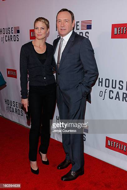 Actors Robin Wright and Kevin Spacey attends the Netflix's 'House Of Cards' New York Premiere at Alice Tully Hall on January 30 2013 in New York City
