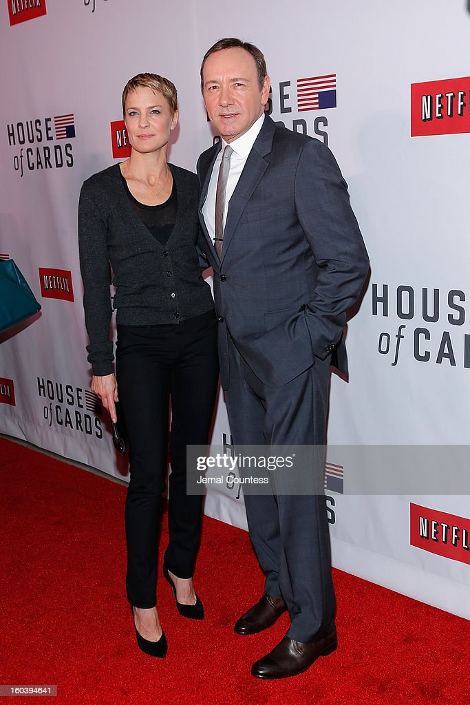 Actors <a gi-track='captionPersonalityLinkClicked' href=/galleries/search?phrase=Robin+Wright&family=editorial&specificpeople=207147 ng-click='$event.stopPropagation()'>Robin Wright</a> and <a gi-track='captionPersonalityLinkClicked' href=/galleries/search?phrase=Kevin+Spacey&family=editorial&specificpeople=202091 ng-click='$event.stopPropagation()'>Kevin Spacey</a> attends the Netflix's 'House Of Cards' New York Premiere at Alice Tully Hall on January 30, 2013 in New York City.