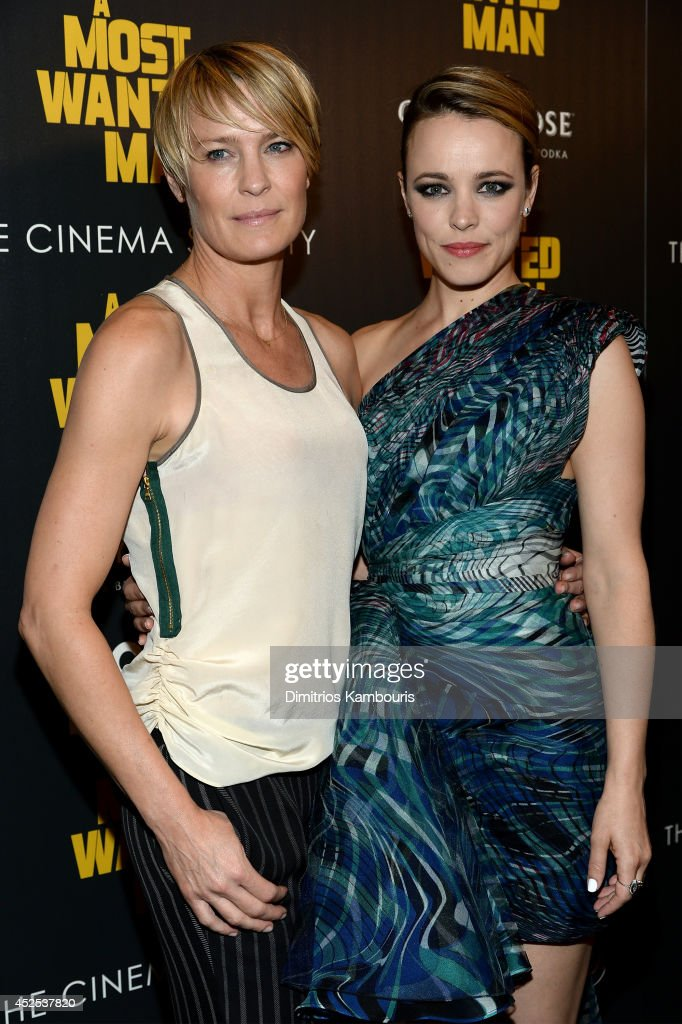 Actors <a gi-track='captionPersonalityLinkClicked' href=/galleries/search?phrase=Robin+Wright&family=editorial&specificpeople=207147 ng-click='$event.stopPropagation()'>Robin Wright</a> (L) and <a gi-track='captionPersonalityLinkClicked' href=/galleries/search?phrase=Rachel+McAdams&family=editorial&specificpeople=212942 ng-click='$event.stopPropagation()'>Rachel McAdams</a> attend Lionsgate and Roadside Attraction's premiere of 'A Most Wanted Man' hosted by The Cinema Society and Montblanc at the Museum of Modern Art on July 22, 2014 in New York City.