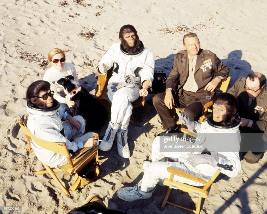 Actors Roddy McDowall as Cornelius, Kim Hunter as Zira, Natalie Trundy as Dr. Stephanie Branton, Harry Lauter as General Winthrop and Sal Mineo as Milo in the science-fiction film 'Escape from the Planet of the Apes', 1971.