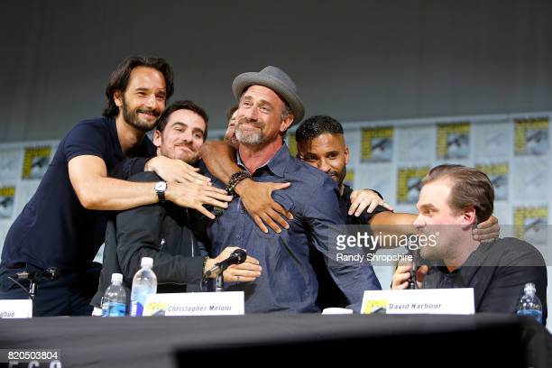 Actors Rodrigo Santoro Colin O'Donoghue Richard Rankin Christopher Meloni Ricky Whittle and David Harbour speak on stage during Entertainment...