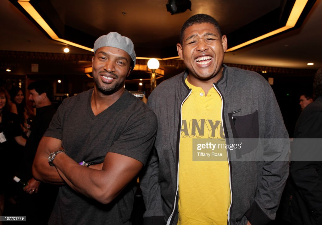 Actors <a gi-track='captionPersonalityLinkClicked' href=/galleries/search?phrase=Roger+Cross&family=editorial&specificpeople=537676 ng-click='$event.stopPropagation()'>Roger Cross</a> and Omar Benson Miller attend Los Angeles Police Memorial Foundation's Celebrity Poker Tournament at Saban Theatre on April 27, 2013 in Beverly Hills, California.