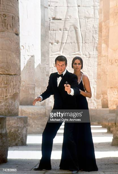 Actors Roger Moore and Barbara Bach in the James Bond film 'The Spy Who Loved Me' Photo by Michael Ochs Archives/Getty Images
