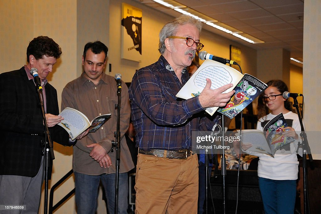 Actors Roger Rhodes, Greg Bogosian, Jim Cummings and Haden Ryan-Embry read from the new Christmas children's book 'ELFBOT' at The Americana at Brand on December 7, 2012 in Glendale, California.