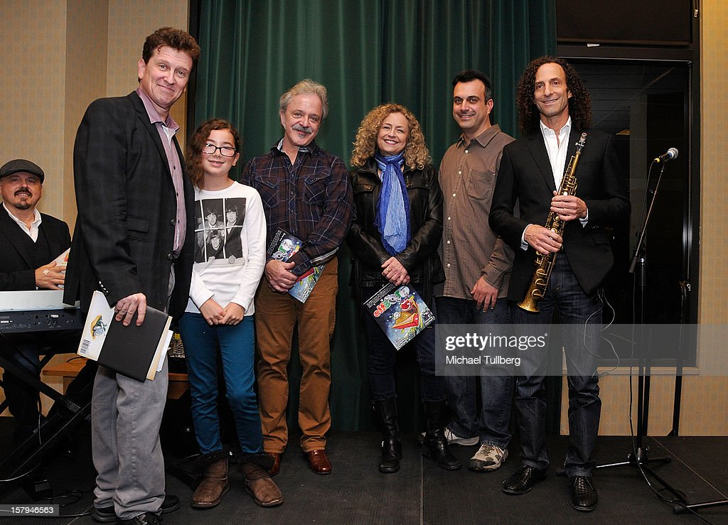Actors Roger Rhodes, Haden Ryan-Embry, Jim Cummings, Jeannie Elias and Greg Bogosian and musician Kenny G attend a reading of the new Christmas children's book 'ELFBOT' at The Americana at Brand on December 7, 2012 in Glendale, California.