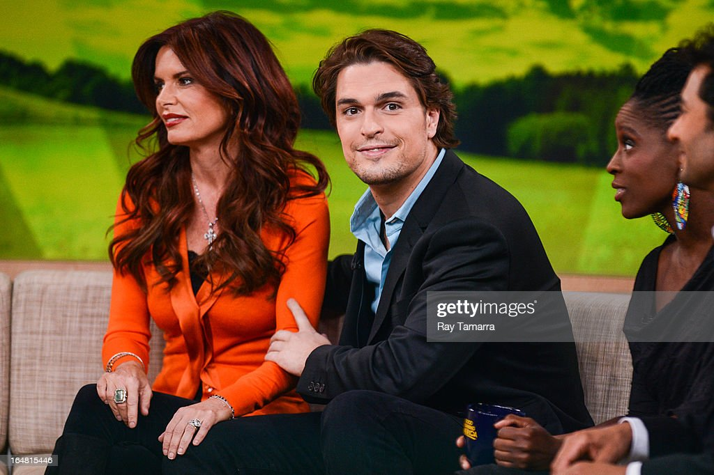Actors Roma Downey (L) and Diogo Morgado tape an interview at 'Good Morning America' at the ABC Times Square Studios on March 28, 2013 in New York City.
