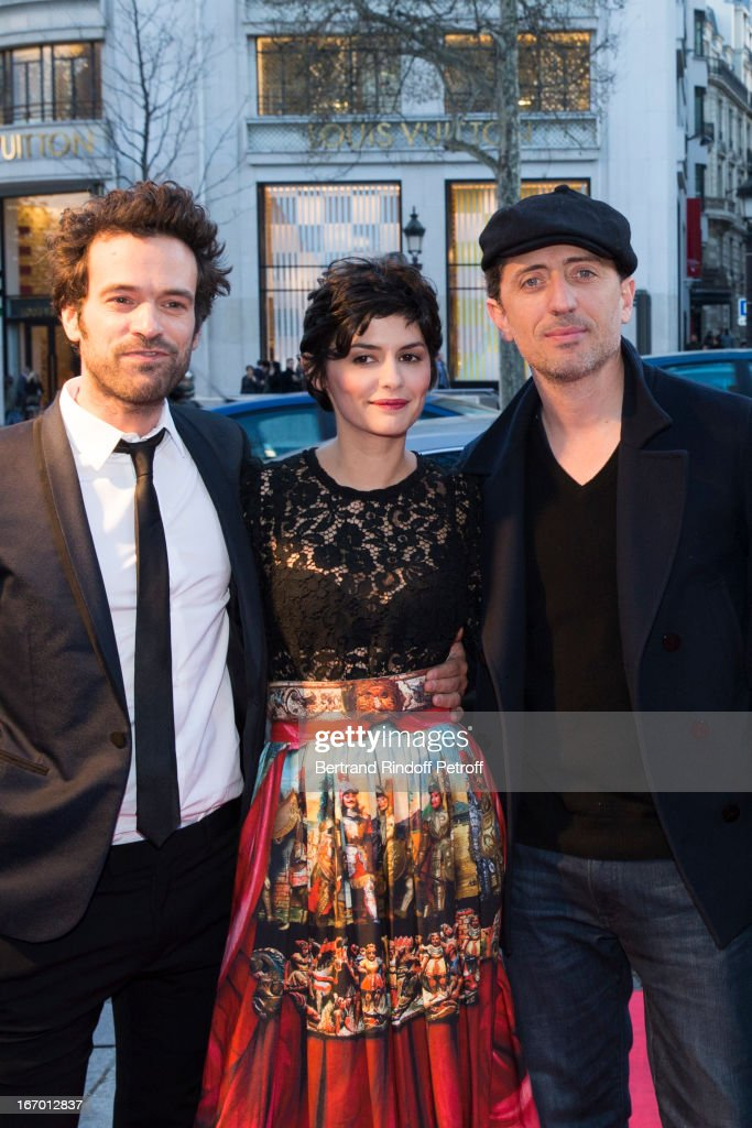 Actors Romain Duris, Audrey Tautou and Gad Elmaleh pose upon their arrival to the premiere of Michel Gondry's film 'L'Ecume Des Jours' at Cinema UGC Normandie on April 19, 2013 in Paris, France.